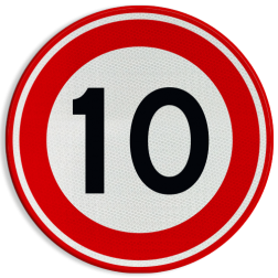 Verkeersbord Maximumsnelheid Verkeersbord RVV A01-10 - Maximum snelheid 10 km/h