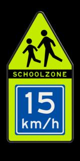 Product Spelende kinderen + adviessnelheid SCHOOLZONE puntbord 700x1400mm met adviessnelheid school, spelende kinderen, matig uw snelheid, overstekende kinderen, J21, 10km, L303