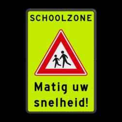 Verkeersbord Opgelet! pas je snelheid aan, je nadert een schoolzone gebied waarin je kan verwachten dat kinderen spelen. Dus geen vaste oversteekplaats meer, wordt vaak gebruikt in de buurt van scholen of openbare speeltuinen. Verkeersbord SCHOOLZONE RVV J21f matig uw snelheid