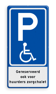 Verkeersbord Parkeren mindervaliden met tekst Verkeersbord RVV E06 parkeerplaats mindervaliden met tekst