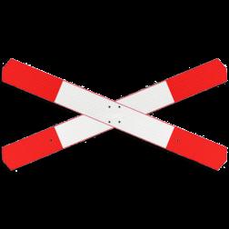 Product aanduiding overweg met enkelspoor Andreaskruis - verzwaard - klasse 3 reflecterend - 2 bladen SO RVV J12