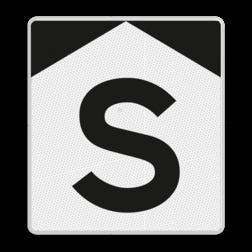 'S'-bord Stoppen vóór het bord en de opdracht, vermeld op het onderbord, uitvoeren. Indien geen opdracht wordt vermeld, mag na het stoppen verder worden gereden. 'S'-bord - RS 301 - Reflecterend ST RS 301