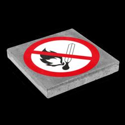 Symbooltegel 300x300mm - Aanduiding roken en open vuur verboden betontegel,  stoeptegel, symbooltegel, print, opdruk, bedrukken, roken, open, vuur, verboden
