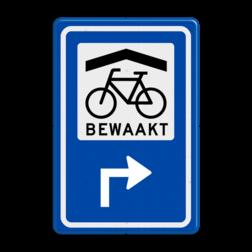 Verkeersbord Ga naar rechts voor bewaakte overdekte fietsenstalling Verkeersbord RVV BW210 - Bewaakte overdekte Fietsenstalling met aanpasbare pijlrichting BW210