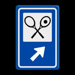 Routebord BW101 (blauw) - 1 pictogram met aanpasbare pijl BEW101, Sporthal, sporten, Tennissen,