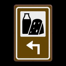 Routebord BW101 (bruin) - 1 pictogram met aanpasbare pijl BEW101, Zuivel, Ambachtelijk, Kazen