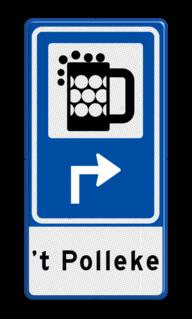 Routebord BW101 (blauw) - 1 pictogram met aanpasbare pijl en tekstvlak BEW101, café, barretje, Kroeg