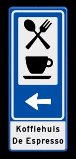 Routebord BW101 (blauw) - 2 pictogrammen met pijl en tekst Restaurant, café, koffie, snackbar