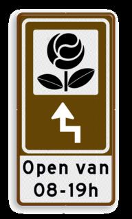 Routebord BW101 (bruin) - 1 pictogram met aanpasbare pijl en tekstvlak BEW101, siertuin, Tuincentrum, tuin