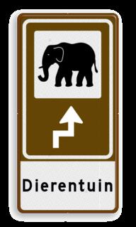 Routebord BW101 (bruin) - 1 pictogram met aanpasbare pijl en tekstvlak BEW101, dierentuin, olifant, Safari