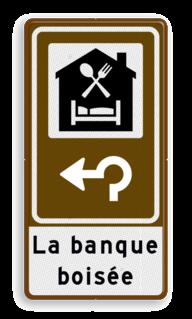 Routebord BW101 (bruin) - 1 pictogram met aanpasbare pijl en tekstvlak BEW101 , Bed & Breakfast