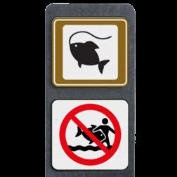 Product Visplaats + verboden vissen mee te nemen Verzwaarde bermpaal met aanduiding visplaats + verboden vissen mee te nemen terreinbord, informatiebord, pijlverwijzing, recreatie, toerisme, toeristisch