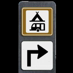 Product Kampeer- en caravanterrein + pijl rechtsaf Verzwaarde bermpaal met kampeer- en caravanterrein + pijlbord terreinbord, informatiebord tent, caravan, kamperen