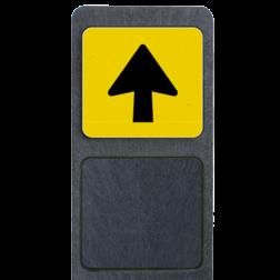 Bermpaal met richtingsbordje pijlverwijzing reflecterend 119x109mm buitengebied, huisnummer, nummer, huis, buiten, gebied, paal, Klassiek, huisnummerbord, Huisnummerpaal, Huisnummerpalen
