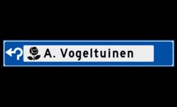 Verwijsbord object (blauw) - met 1 pictogram, 1 regel tekst en pijl ANWB, ANWB-bord, verwijsborden, Bewegwijzering, strokenbord, verwijsbord, wegwijsbord, bewegwijzeringsbord, verwijzingsbord
