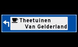 Verwijsbord object (blauw) - met 1 pictogram, 2 regel tekst en pijl ANWB, ANWB-bord, verwijsborden, Bewegwijzering, strokenbord, verwijsbord, wegwijsbord, bewegwijzeringsbord, verwijzingsbord