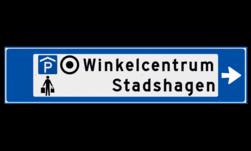 Verwijsbord object (blauw) - met 3 pictogrammen, 2 regel tekst en pijl ANWB, ANWB-bord, verwijsborden, Bewegwijzering, strokenbord, verwijsbord, wegwijsbord, bewegwijzeringsbord, verwijzingsbord
