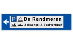 Verwijsbord object (blauw) - met 2 pictogrammen, 2 regel tekst en pijl ANWB, ANWB-bord, verwijsborden, Bewegwijzering, strokenbord, verwijsbord, wegwijsbord, bewegwijzeringsbord, verwijzingsbord
