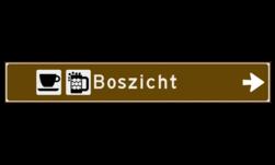 Verwijsbord toeristisch (bruin) - met 2 pictogrammen, 1 regel tekst en pijl