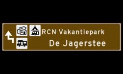 Verwijsbord toeristisch (bruin) - met 3 pictogrammen, 2 regels tekst en pijl ANWB, ANWB-bord, verwijsborden, Bewegwijzering, strokenbord, verwijsbord, wegwijsbord, bewegwijzeringsbord, verwijzingsbord