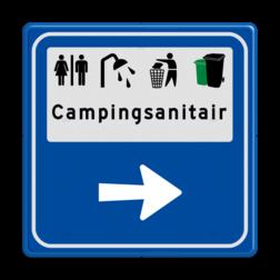 Routebord BW101 (blauw) - 4 picto's en tekst met aanpasbare pijl