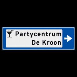 Verwijsbord KOKER Blauw/wit/zwart - pijl rechts, 2 regelig met 1 pictogram - Klasse 3 reflecterend