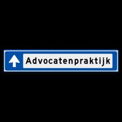 Verwijsbord KOKER Blauw/wit/zwart - met pijl, zonder pictogram - Klasse 3 reflecterend