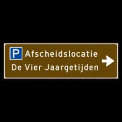 Verwijsbord KOKER Bruin/wit/zwart - pijl rechts, 2 regelig met 1 pictogram - Klasse 3 reflecterend