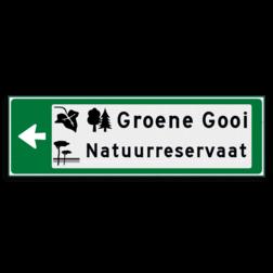 Verwijsbord KOKER Groen/wit/zwart - pijl links, 2 regelig met 3 pictogrammen - Klasse 3 reflecterend