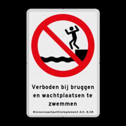 Informatiebord Verboden bij bruggen en wachtplaatsen te zwemmen. Binnenvaartpolitieregelement artikel 8.08 Informatiebord BPR verboden te zwemmen art. 8.08