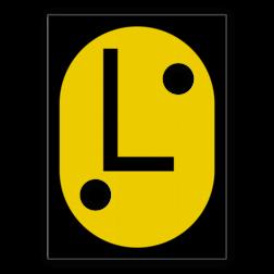 L-bord Aanduiding van een tijdelijk verlaagde plaatselijke snelheid. L-bord - RS 325a - 555x760mm met 2 uitsparingen voor gele lamp SH RS 325a