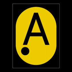 A-bord Aanduiding van het begin van een spoorgedeelte waarvoor een tijdelijke snelheidsbeperking volgens het voorafgaande tijdelijke snelheidsbord geldt. A-bord - RS 326a - 555x760mm met 1 uitsparing voor gele lamp SH RS 326a