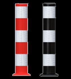 Flexpost Ø160x900mm - rood of zwart - met bodemplaat Flexpost, flexibele, paal, verkeerszuil, fietspadpaal, afzetpaal, kunststof