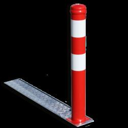 Afzetpaal verzonken met inklapsysteem - Ø90mm rood/wit verzonken, inzinkbaar, afzetpaal