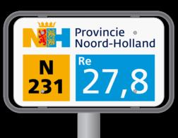 Product Hectometerpaal met bord Hectometerpaal met vlak bord 330x195mm - Noord-Holland