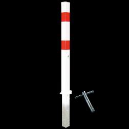 Antiparkeerpaal 70x70mm rood/wit, NEERKLAPBAAR - in bestrating driekant, sleutel, brandweerpaal, anti-parkeerpaal, parkeren, rood-witte paal, verboden te parkeren, parkeerbeugel, klappaal, klap paal, trottoirpaal, geen parkeerplaats, niet parkeren