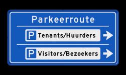 Bewegwijzering Parkeerroute 2 richtingen - rechthoek Wit / blauwe rand, (RAL 5017 - blauw), BEW201, Theater hangaar