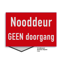 Brand bord NOODDEUR vrijhouden | rood/wit nooduitgang, veiligheidsbord, uitgang vrijhouden, doorgang, vluchtroute