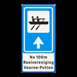 Verkeersbord RVV BW101_ROEI + tekst bungalowpark, vakantiepark, pijlbord, recreatie, BW101, SK2