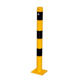 Afzet-, rampaal (SH1) Ø 76 mm - geel/zwart (verzinkt en gecoat staal) Rampaal, Afzetpaal, Ramkraak, Magazijn, Inrichting, Juwelier, Bank, Ramzuil, veilig, ram, Menhir, Beveiliging