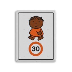 Dick Bruna - Attentiebord Snelheid - joep - Multicultureel Nijntje, schoolzone, vvn, a1-30, maximum snelheid, 30 kilometer, Miffy