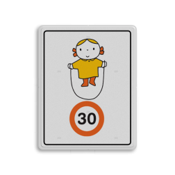 Dick Bruna - Attentiebord Snelheid - meisje met springtouw Nijntje, schoolzone, vvn, a1-30, Miffy, maximum snelheid, 30 kilometer