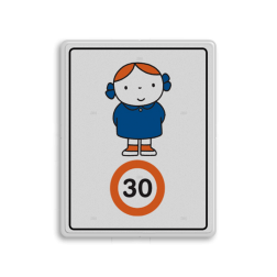 Dick Bruna - Attentiebord Snelheid - meisje met strikjes Nijntje, schoolzone, vvn, a1-30, maximum snelheid, Miffy, 30 kilometer