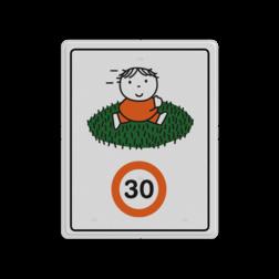 Dick Bruna - Attentiebord Snelheid - speelplaats grasveld Nijntje, schoolzone, vvn, a1-30, maximum snelheid, 30 kilometer, Miffy