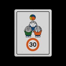 Dick Bruna - Attentiebord Snelheid - spelende kinderen Nijntje, schoolzone, vvn, a1-30, Miffy, snelheid, maximale snelheid, 30 kilometer