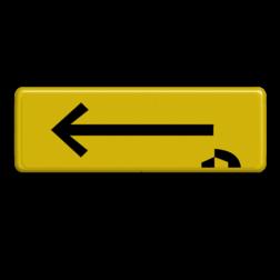 Verkeersbord PIJL geel/zwart Janssen Aann. Tekstbord, WIU bord, tijdelijke verkeersmaatregelen, werk langs de weg, omleidingsborden, tijdelijk bord, werk in uitvoering, 3 regelig bord