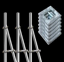Opstelunit A03 buispaal 3700mm boven maaiveld - compleet met betonvoeten paal, bevestigen, vastmaken, buispaal, palen, verkeersbordpaal, bordpaal