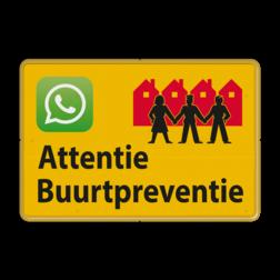 Verkeersbord L209b Attentie Buurtpreventie - WhatsApp - geel L209b Whats App, WhatsApp, watsapp, preventie, attentie, OV0495, L209, Buurt