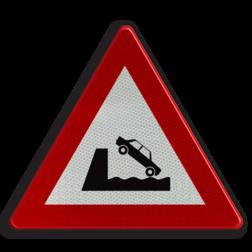 Verkeersbord A11: Uitweg op een kaai of oever. Verkeersbord België A11 - Uitweg op een kaai of oever A11 pas op, let op, uitweg, oever, kant, water, RVV J26