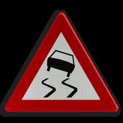 Verkeersbord A15: Glibberige rijbaan (slipgevaar). Verkeersbord België A15 - Glibberige rijbaan (slipgevaar) A15 pas op, let op, glad, wegdek, J20, gladde weg